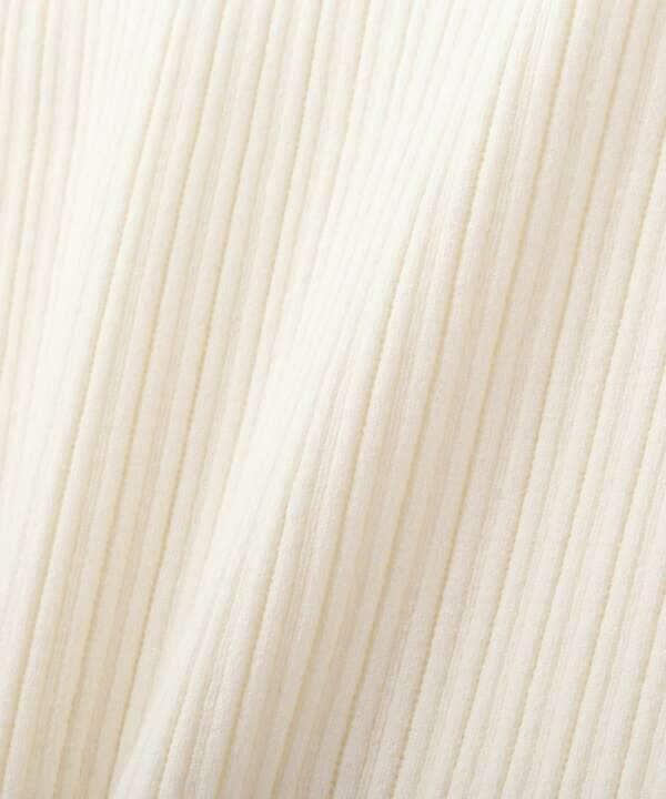 <ブルー:WEB限定カラー>7分袖ランダムリブマトンボリューム袖ニット