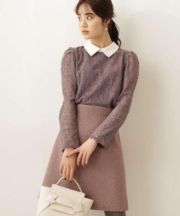 衿付きタイニーフラワーレースブラウス WEB限定カラー:ダスティーピンク