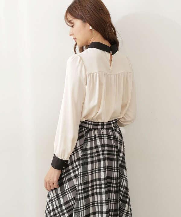 【美人百花10月号 掲載商品】バイカラーブラウス