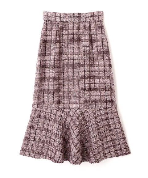 【先行予約11月上旬-11月中旬入荷予定】チェックツイードマーメイドスカート WEB限定カラー:ピンクベージュ