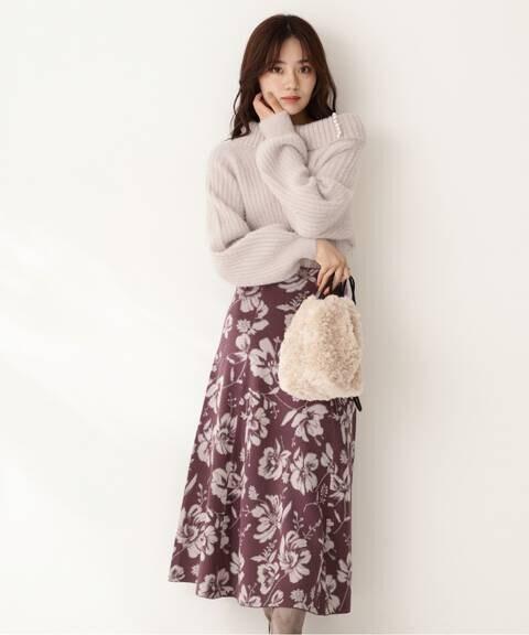 ジャガードフラワーニットスカート