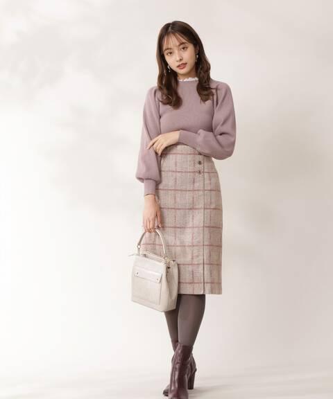【先行予約10月下旬-11月上旬入荷予定】ループチェックツイードタイトスカート