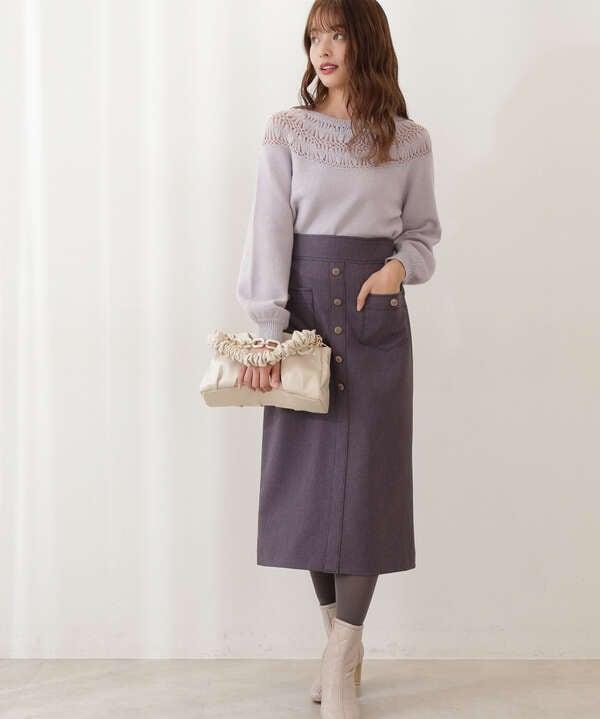 フロント釦ハイウエストタイトスカート