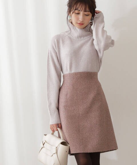 ニュアンスツイード台形ミニスカート