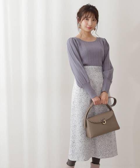 ニュアンスフラワーサテンスカート