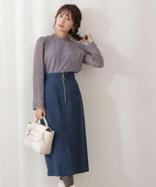 フロントファスナーカルゼタイトスカート