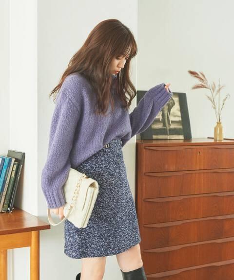 【堀田茜さん着用 美人百花11月号 掲載商品】ビットチャーム付台形スカート