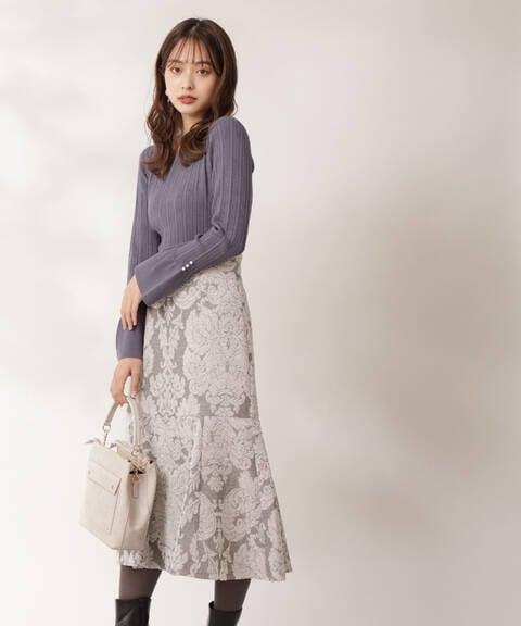 【先行予約11月下旬-12月上旬入荷予定】モールジャガードマーメイドスカート