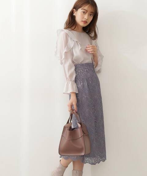 【先行予約9月上旬-9月中旬入荷予定】ハイウエストレースタイトスカート