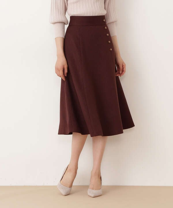 サイド釦ナローフレアスカート