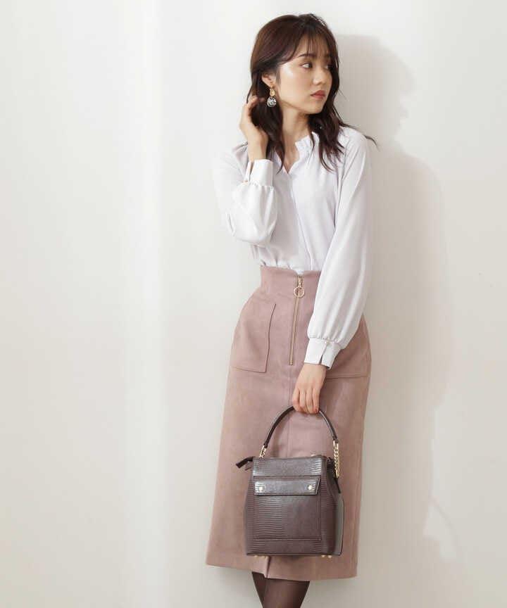 フロントファスナーフェイクスエードタイトスカート WEB限定カラー:ピンク