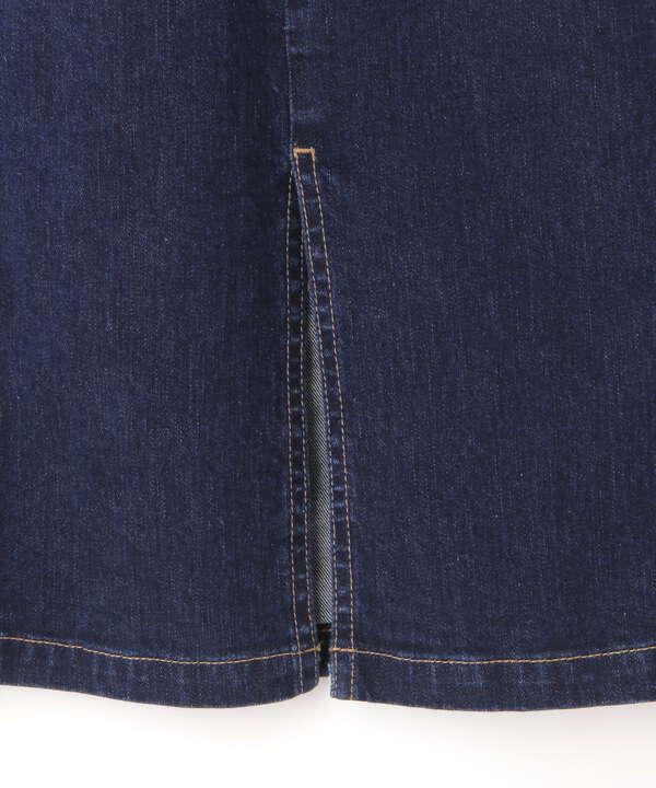 フロント釦デニムタイトスカート