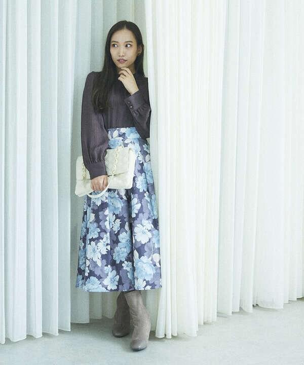 タックフラワースカート