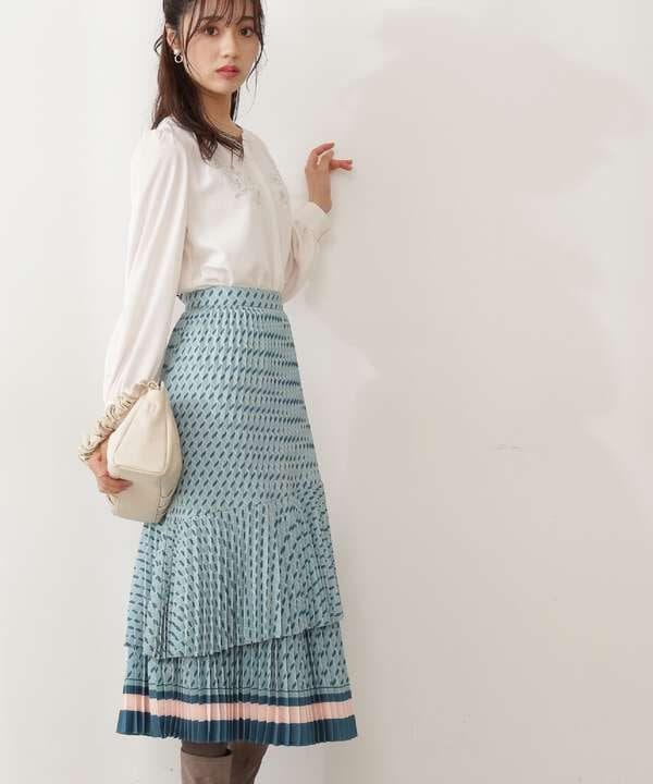ティアードプリーツレトロ柄スカート