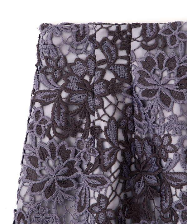 ツートーンケミカルレースタイトスカート