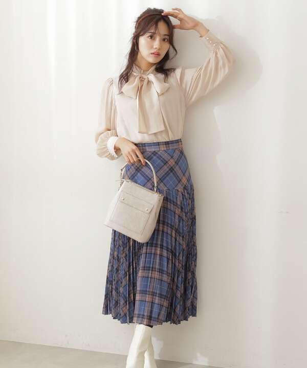 【美人百花10月号 掲載商品】チェックプリーツスカート