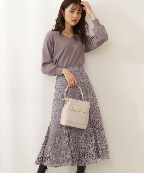 【先行予約11月上旬-11月中旬入荷予定】《EDIT COLOGNE》微配色モールレースマーメイドスカート