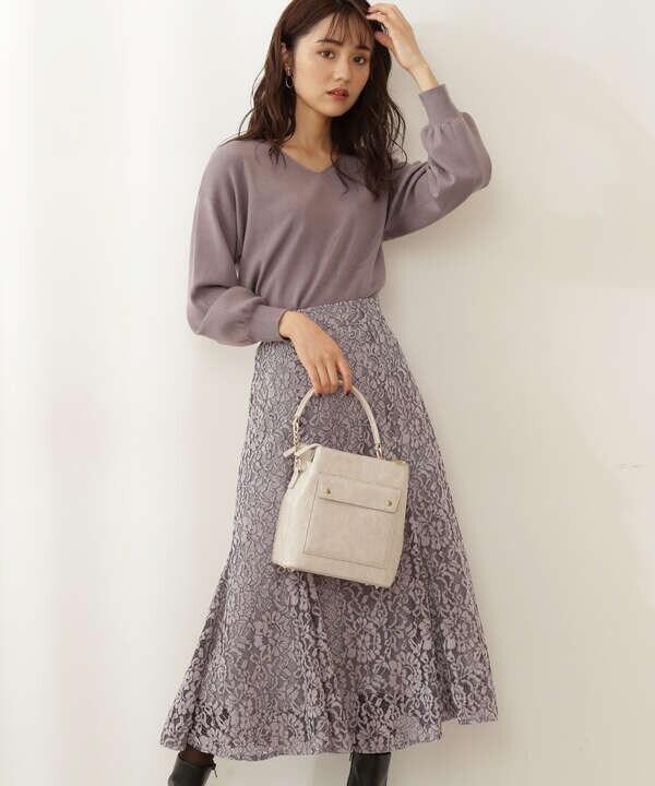 【白石聖さん着用 美人百花11月号 掲載商品】《EDIT COLOGNE》微配色モールレースマーメイドスカート