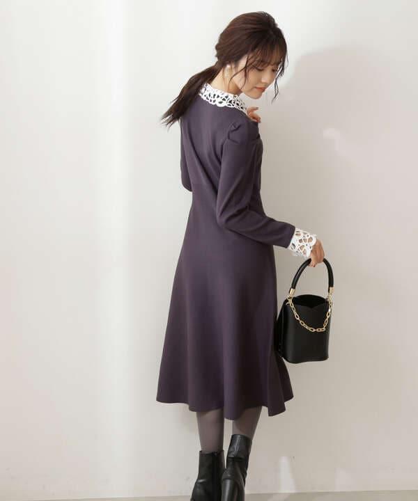 【美人百花10月号 掲載商品】クラシカルレースニットワンピース