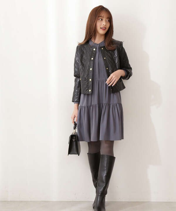 合皮キルトジャケット