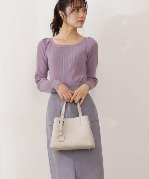 【美人百花10月号 掲載商品】スクエアタックリブニット