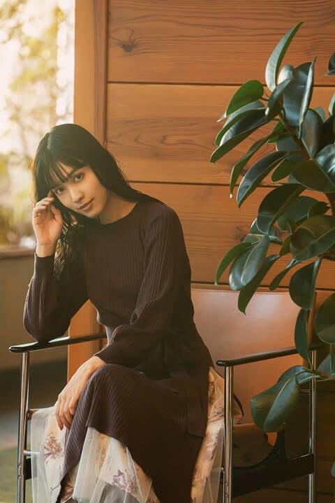 【道重さゆみさん着用 美人百花12月号掲載商品】スリットワンピ×トーンフラワーセット