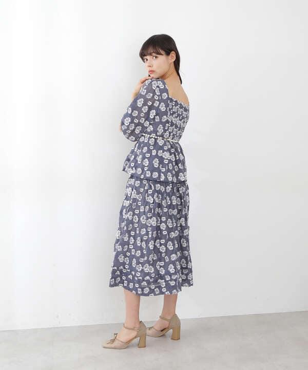【道重さゆみさん着用 美人百花4月号掲載商品】ミニフローラルカットジャガードブラウス