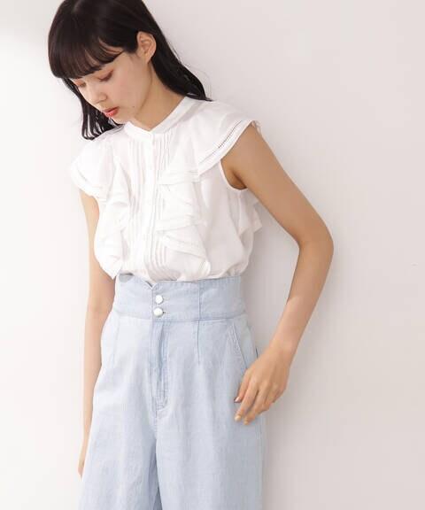 【宮田聡子さん着用 美人百花6月号掲載商品】ピンタックフリルブラウス