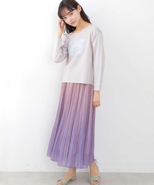 【追加生産予約4月下旬-5月上旬入荷予定】グラデーションシアープリーツスカート