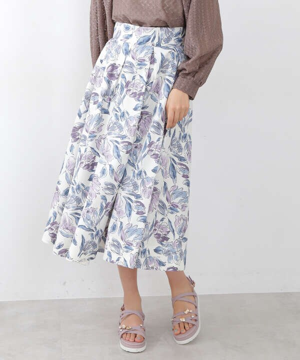 アートフラワープリントスカート