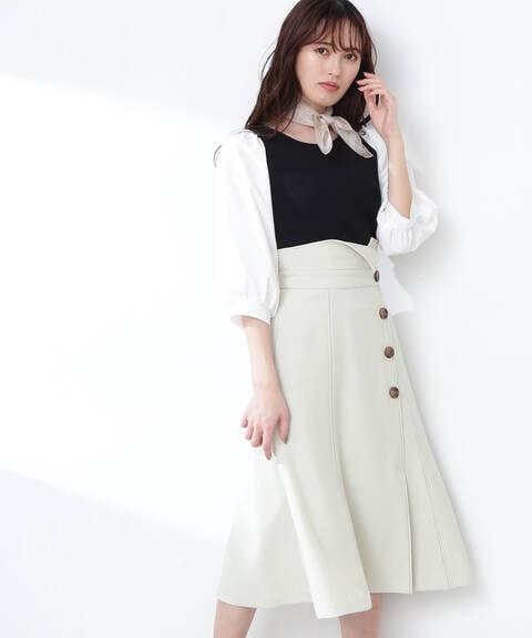 リネン調ステッチスカート