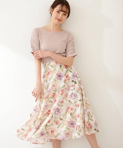 【先行予約5月中旬-5月下旬入荷予定】ジャガードボタニカルプリントスカート