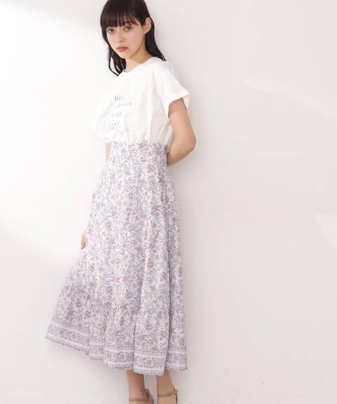 【先行予約5月下旬-6月上旬入荷予定】エスニックパネルプリントスカート