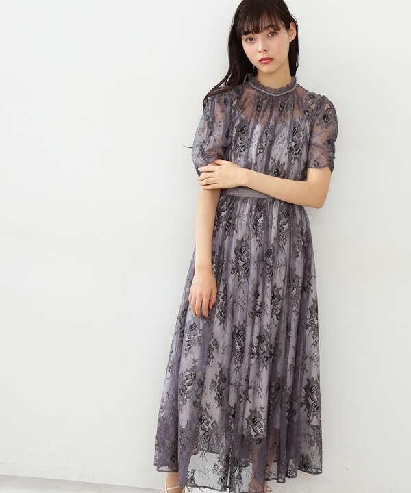 バイカラーレースドレス