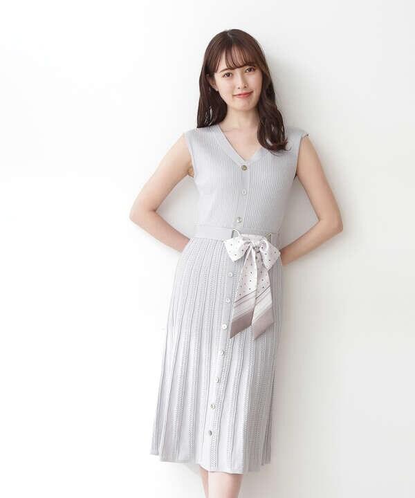 【宮田聡子さん着用 美人百花6月号掲載商品】スカーフ付ニットワンピース