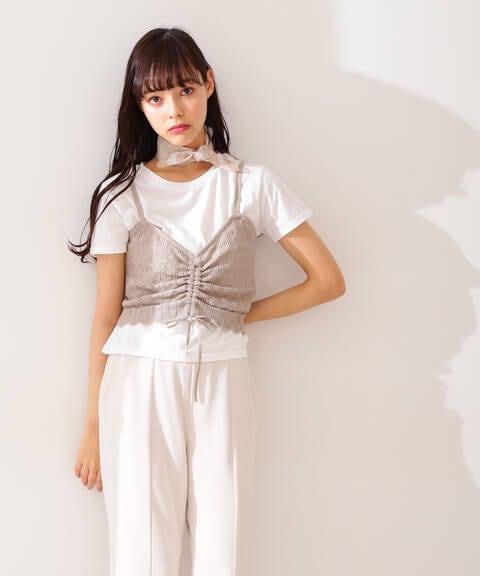 Tシャツ×ニットベストセット