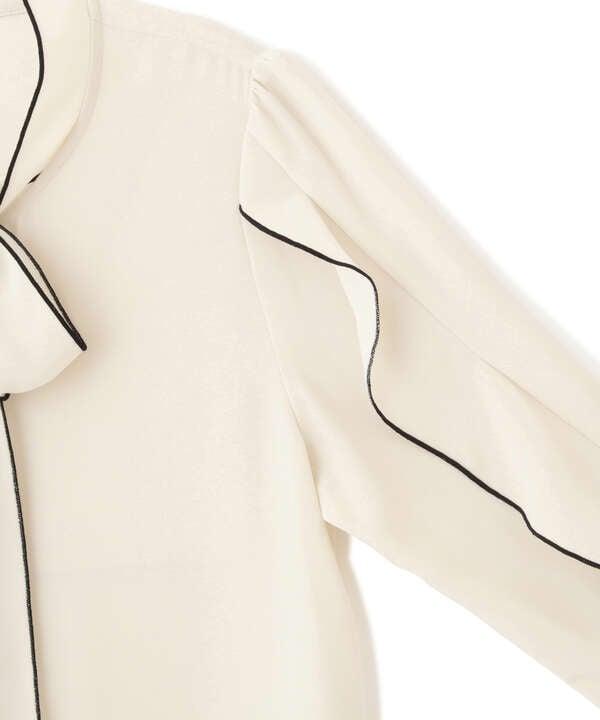 【道重さゆみさん着用 美人百花 10月号 掲載商品】バイカラーラッフルスリーブブラウス