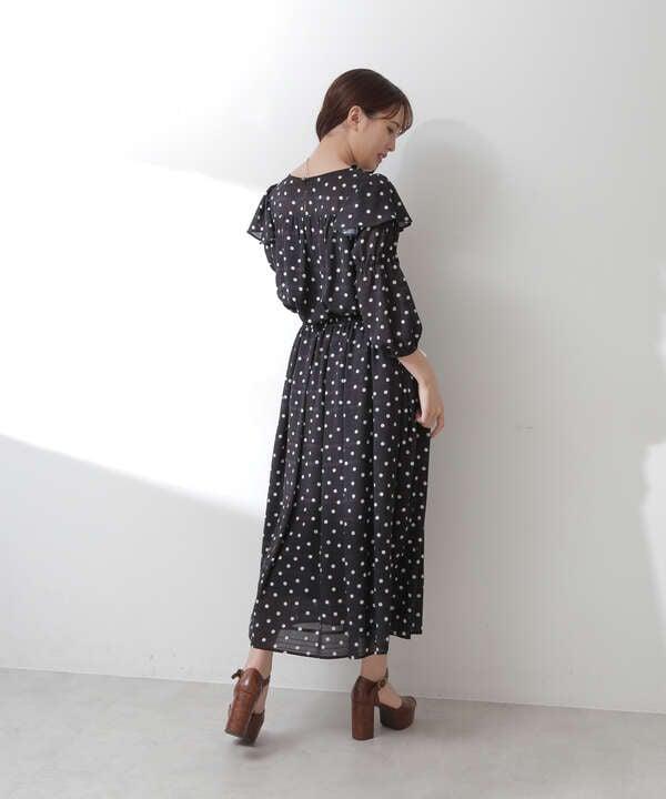 シャドーボーダードットプリントスカート