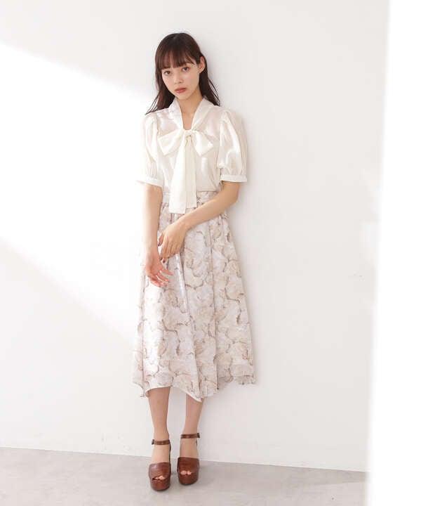 ストーンフラワーシフォンプリントスカート