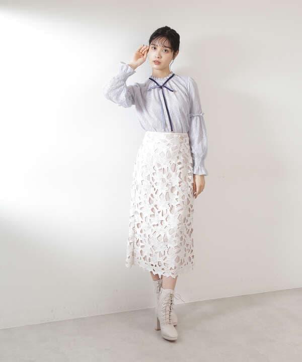 【道重さゆみさん着用 美人百花 10月号 掲載商品】リーフフラワーレーススカート