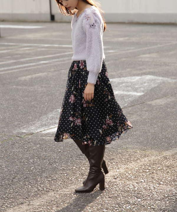 【先行予約10月中旬-10月下旬入荷予定】ヴィンテージ風ドットフラワースカート