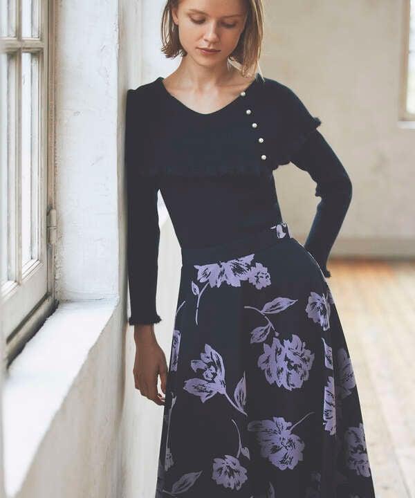 【泉里香さん着用 美人百花11月号 掲載商品】フロッキーフラワープリントスカート