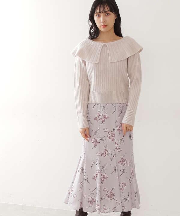 【先行予約11月中旬-11月下旬入荷予定】ワントーンフラワースカート