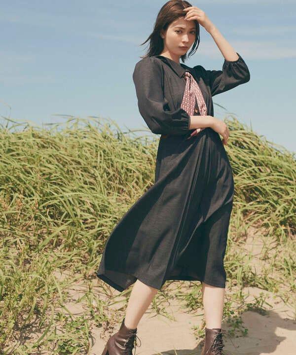 【道重さゆみさん着用 美人百花 10月号 掲載商品】スカーフ付トレンチ風ワンピース