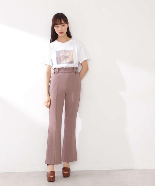 マーブルフラワープリントTシャツ