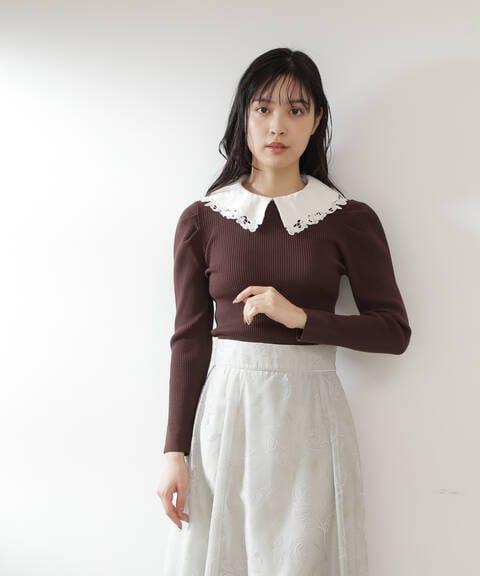 【道重さゆみさん着用 美人百花 10月号 掲載商品】エリツキリブニット