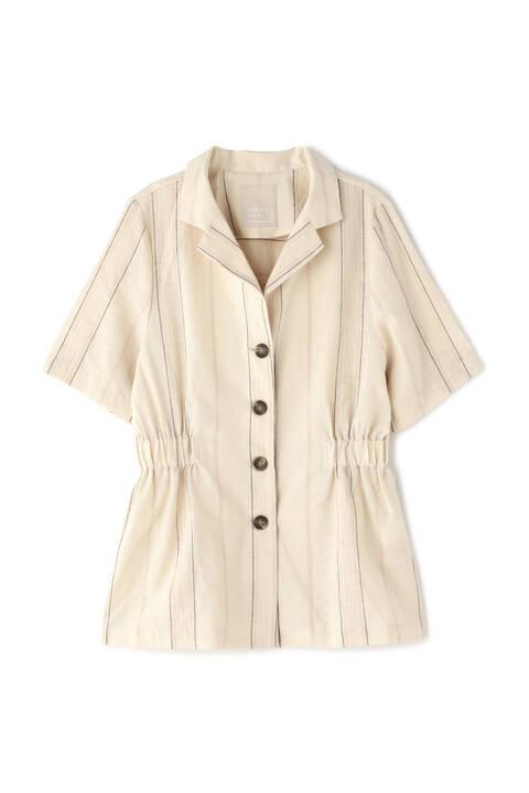 綿麻ストライプサイドゴムジャケット