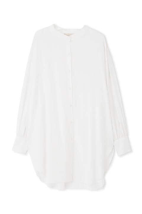 《Sシリーズ対応商品》スタンドネックロングチュニックシャツ