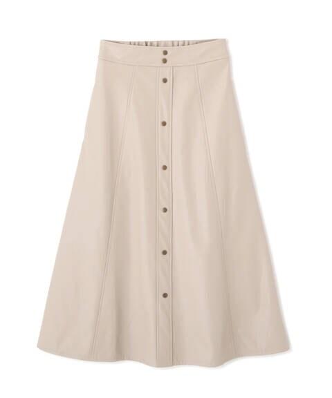 フロントボタンフェイクレザースカート