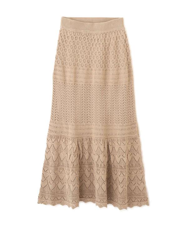 透かし編みニットマーメイドマキシスカート